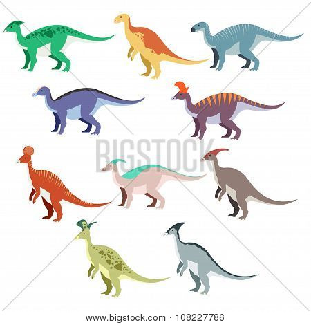 Set of duck dinosaurs