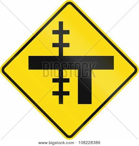 New Zealand Road Sign - Level Crossing On Uncontrolled T-junction On Left
