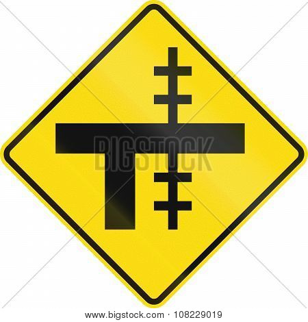 New Zealand Road Sign - Level Crossing On Uncontrolled T-junction On Right