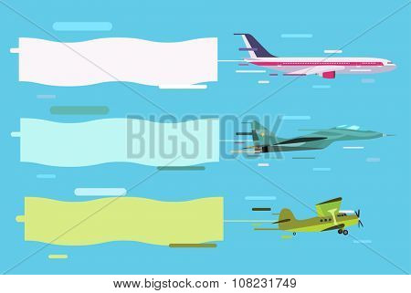 Plane flying with advertising banners. Planes set banners. Plane flying with banners. Plane vector, plane isolated, plane silhouette. Plane vector silhouette banner isolated. Flat modern design