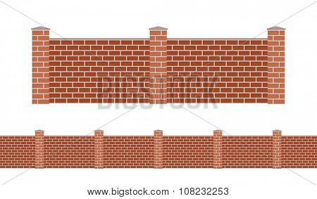 Stone bricks fence isolated on white background. Garden stone fences vector illustration. Fences railing vector isolated. Stone bricks fence, long fence, vector fence. Stone fence silhouette
