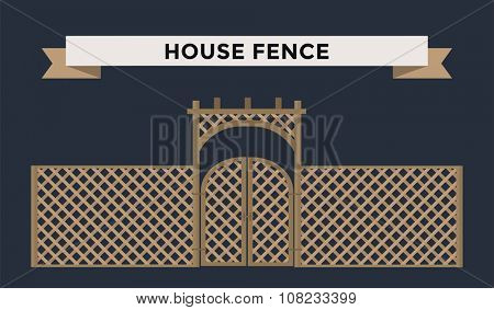 Metallic fence isolated on night background. Fences vector illustration. Fences railing vector isolated. Metall fence, long fence, vector fence. Fence silhouette construction isolated