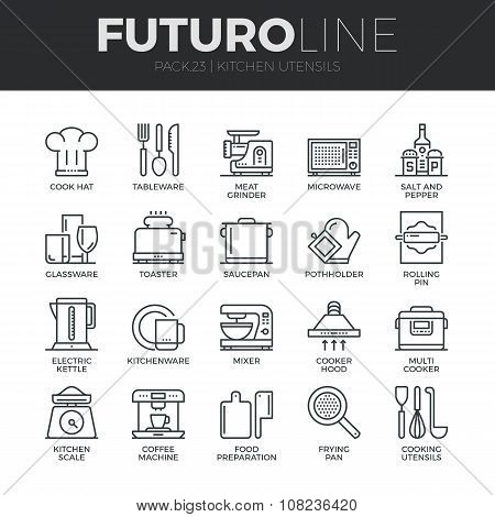 Kitchen Utensils Futuro Line Icons Set