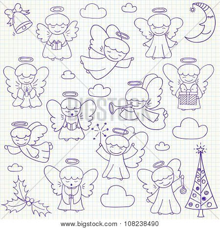 Set of vector Christmas angels and ornaments in doodle style (included xmas tree;  mistletoe; angels; bell;  pine; crescent, gift). Can be used for xmas or winter design