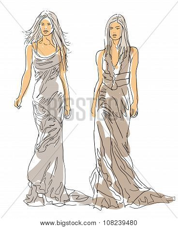 Sketch Fashion Poses - women with gray dress