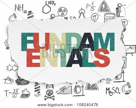 Science concept: Fundamentals on Torn Paper background