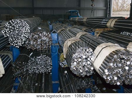Steel Rods In Factory Warehouse