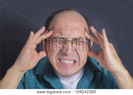 Adult man under pressure and severe stress. Dark blue background poster
