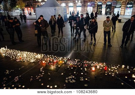 Tributes Being Laid Out After The Paris Attacks Paris Attacks Aftermath On November 15, 2015 In Pari