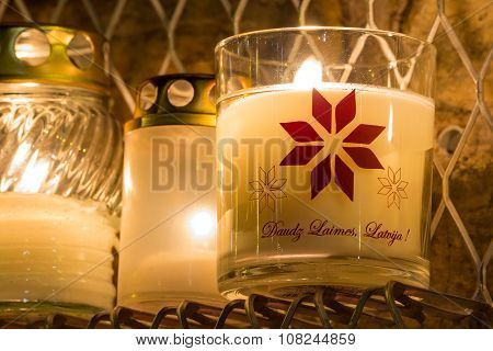 Candles for birthday of Latvia