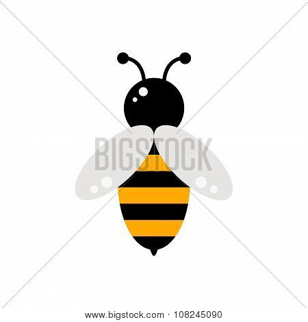 Bee. Bee icon. Isolated bee icon on white background.