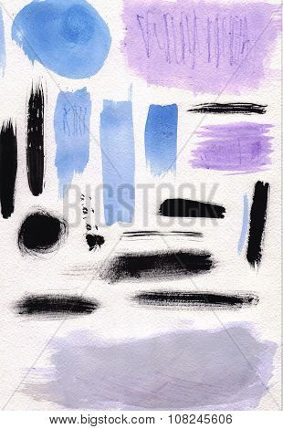 Watercolor abstract brush strokes on textured paper.