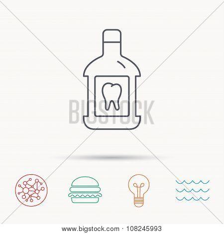 Mouthwash icon. Oral antibacterial liquid sign.