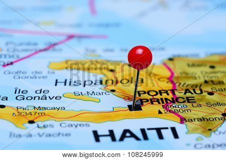 Port-Au-Prince pinned on a map of America