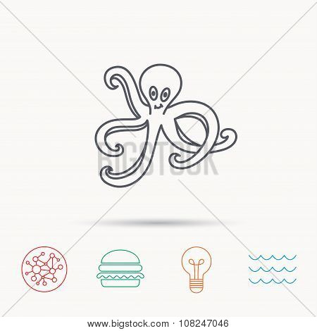 Octopus icon. Ocean devilfish sign.