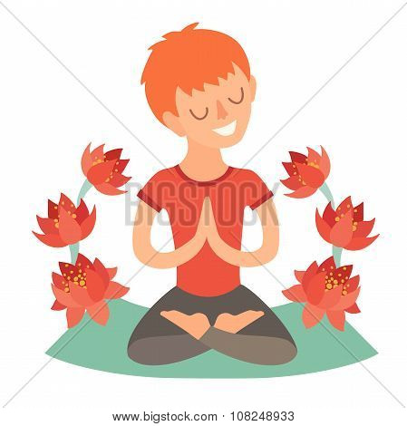 Kid in the lotus position on the mat for yoga