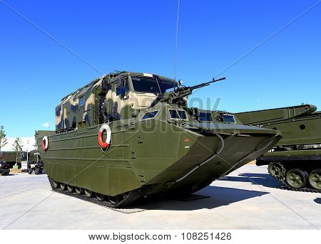 MOSCOW REGION  -   JUNE 17: Army floating transporter is intended for crossing water obstacles wheeled and tracked tractors conveyors vehicles personnel and various cargoes. It has good maneuverability high traffic and a large reserve buoyancy