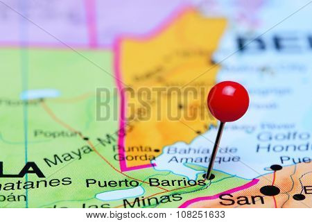 Puerto Barrios pinned on a map of America