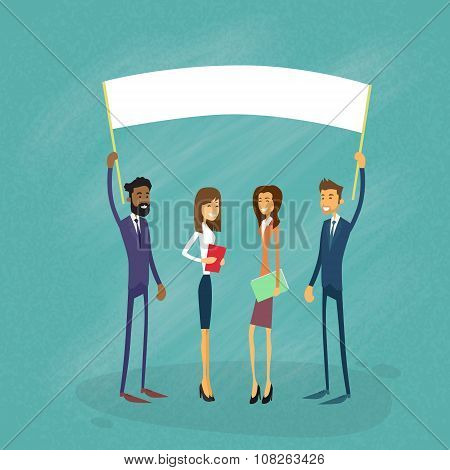 Businessmen Show White Board, Signboard, Empty Copy Space, Business People Cartoon  Hold Placard Sign Board Blank Flat Vector Illustration poster