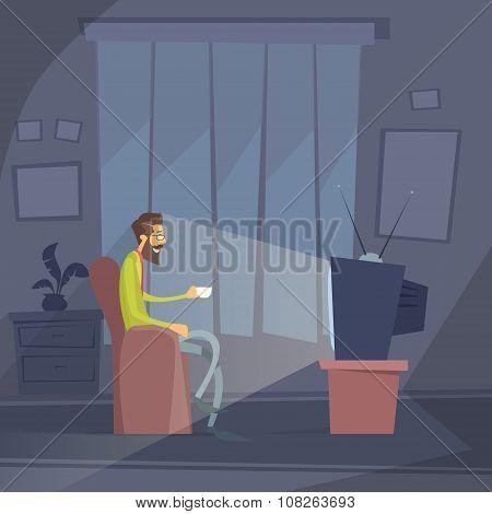 Man Sitting Watching Tv Home Chair Drink Coffee Night