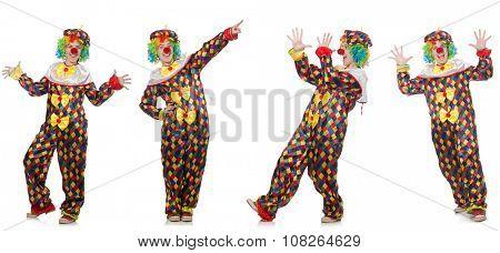 Set of clown photos isolated on white