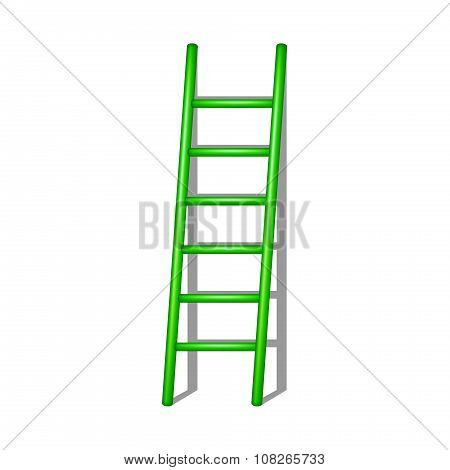 Wooden ladder in green design with shadow