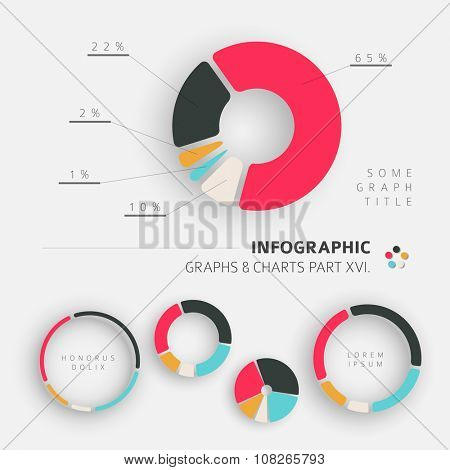 Vector flat design infographic elements - pie charts - 16. part of my infographic bundle