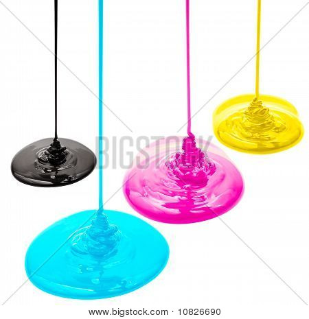 Magenta cyan yellow and black liquid paints isolated poster