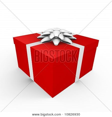A wrapped gift with ribbon - 3d image