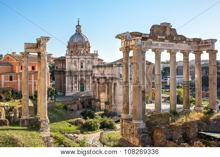 Forum Romanum view from the Capitoline Hill in Italy, Rome.
