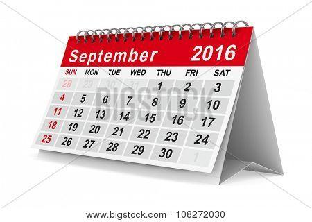 2016 year calendar. September. Isolated 3D image