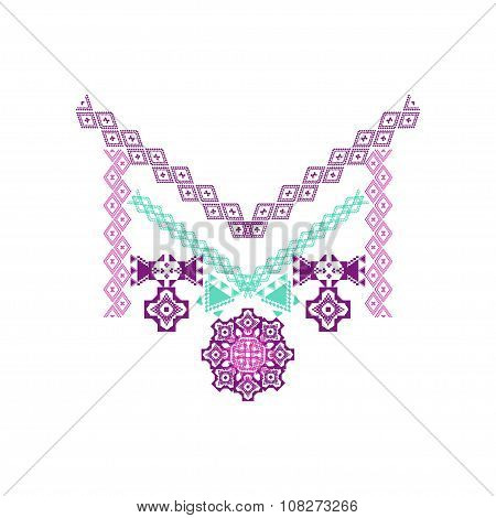 Neckline design in ethnic style for fashion. Aztec neck print. Vector tribal embellishment poster