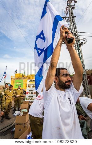 Israeli Soldier With National Flag