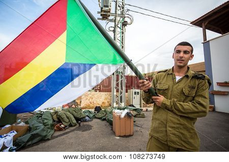 Israeli Soldier With Druze Flag