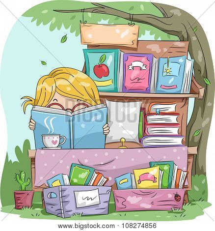 Illustration of a Little Girl Reading a Book While Manning a Yard Sale