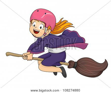 Illustration of a Little Girl Dressed as a Witch Flying on Her Broomstick