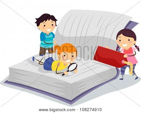 Stickman Illustration of Little Kids Using a Magnifying Glass to Read a Book