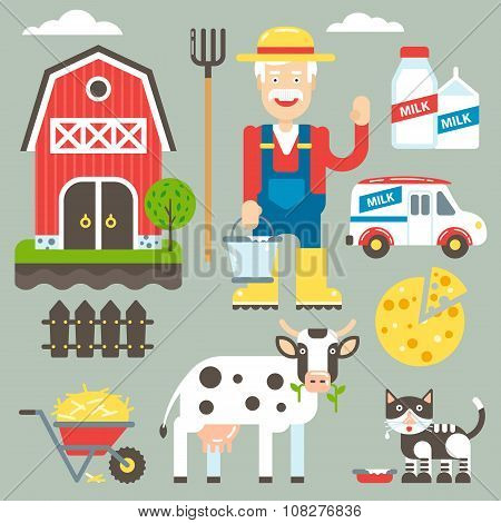 Domestic Farm Vector Kit