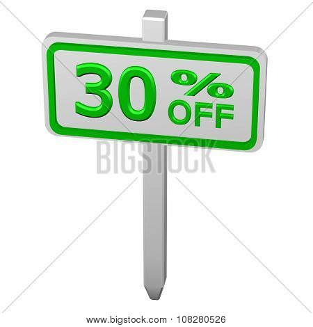 Pillar with sign discount 30 % off isolated on white background. 3D render. poster