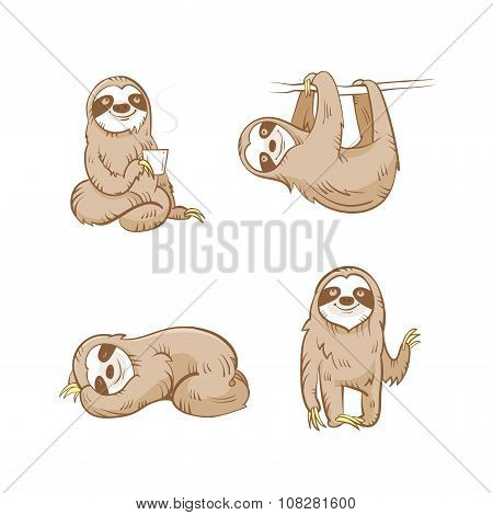 Cartoon Sloths Set.