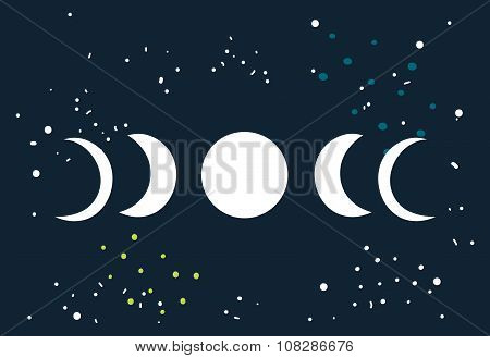 Lunar Eclipse Moon Phases Circle With Stars Space Background