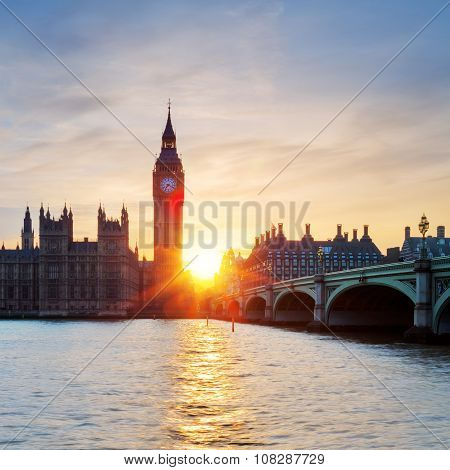View Of Big Ben Clock Tower In London At Sunset