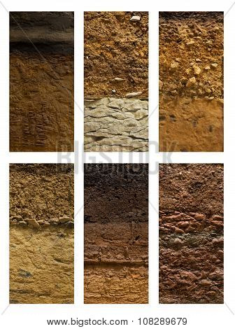 Different Types Of Soil Ground On A White Background