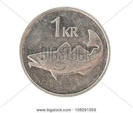 Icelandic one krona coin isolated