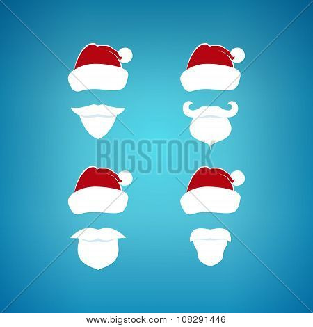 Colorful Santa Claus Face On A Blue Background