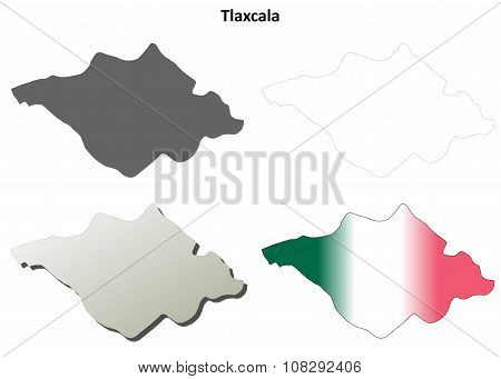 Tlaxcala blank outline map set