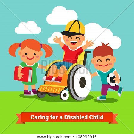 Happy children are walking with kid on wheelchair