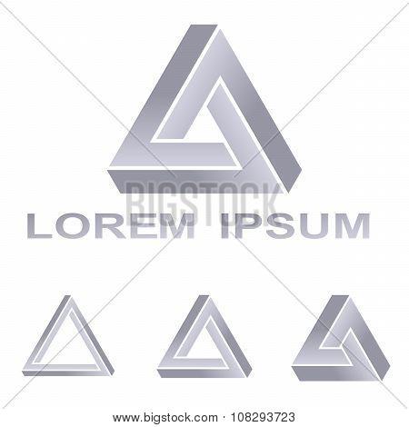Silver Penrose triangle technology symbol design set