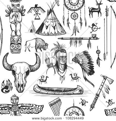 Seamless Pattern American Tribal Native Symbols with tomahawk, canoe, piece pipe, wigwam, feather headdress, longbow and arrow, brown