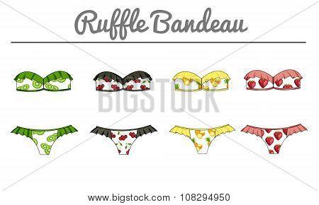 Fashion Illustration - Ruffle bandeau strapless bra bikini in fruit fabric print